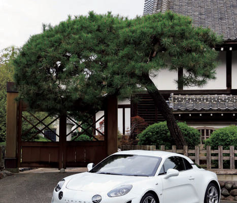 2018年秋から日本での予約販売を開始したアルピーヌ/A110。車体前部の丸みを帯びたボンネット形状が印象的だ。
