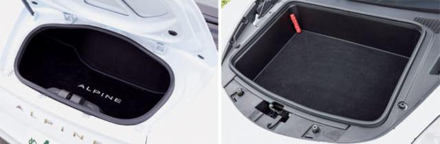 後輪軸のすぐ前にエンジンを搭載しているため、荷室(トランクルーム)は小さい。車体前部(右)と後方(左)に荷室が設けられている。どちらも小さく、高さのある荷物を収納することはできない。