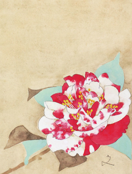《白地に赤、赤地に白。どちらの斑も好きだが、勢いきおいの盛んな時に白地が勝つようだ》(『堀文子画 文集 命といふもの』より)今年の花は、白と赤のどちらの分量が多いか、異常気象のせいか、木の弱りか、と、堀文子さんは毎年、庭の『太神楽』の咲き具合を気にかけていたという。