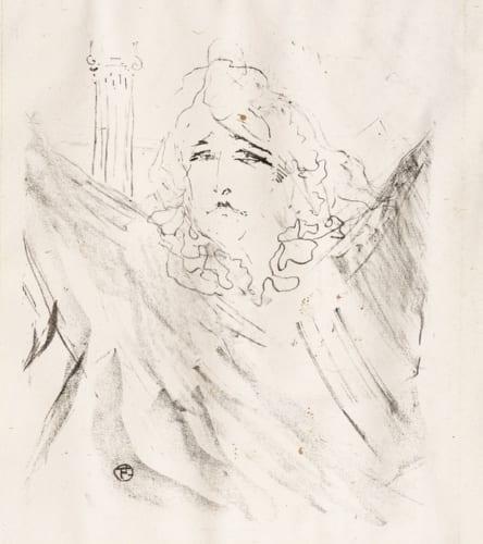 アンリ・ド・トゥールーズ=ロートレック《サラ・ベルナール(〈H・ド・トゥールーズ=ロートレックによる俳優13人の肖像画〉連作から)》 1898年 個人蔵