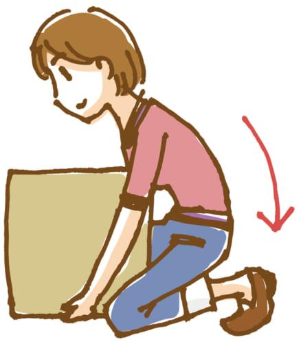 重い物を持ち上げる時は、しっかりと身体にひきつけて、身体全体の力を使う