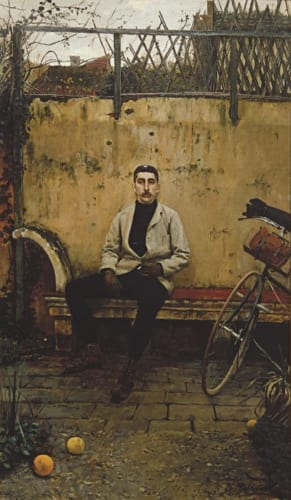 サンティアゴ・ルシニョル《自転車乗りラモン・カザス》1889年 油彩・カンヴァス サバデイ銀行蔵 (C)Banco Sabadell Collection