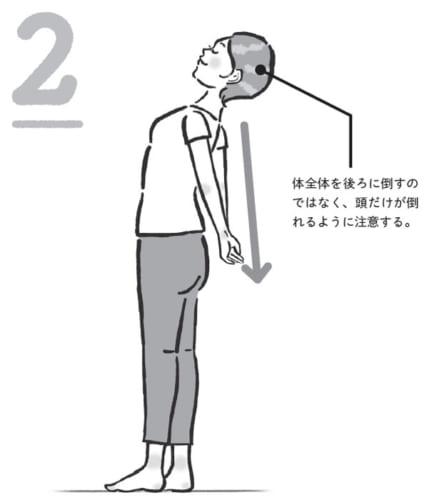 首のストレッチの実行