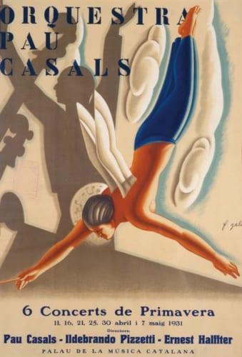 フランセスク・ダシス・ガリ《パウ・カザルスのオーケストラ》1931年 リトグラフ カタルーニャ美術館蔵 (C)Museu Nacional d'Art deCatalunya,Barcelona(2019)
