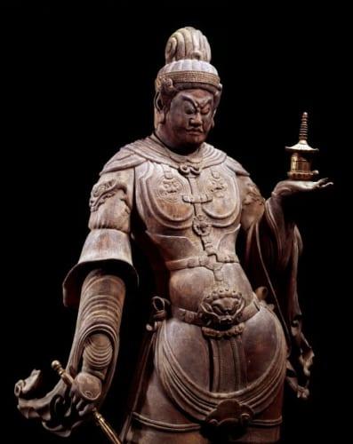 重要文化財「兜跋毘沙門天立像」(部分)平安時代 福岡・観世音寺