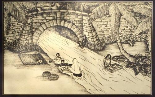 水遊びをする子供たちや洗濯をする女などかつてハガニア川が流れていた時代、チャモロ民族が河川と密接に結びついた生活を営んでいたのが分かる想像図。画像引用:サン・アントニオ橋の案内板画像を改変して作成