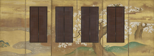 狩野常信「吉野・龍田図簾屏風(右隻)」江戸時代 出光美術館蔵
