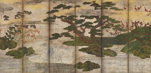 伝 土佐光信「四季花木図屏風(右隻)」重要文化財 室町時代 出光美術館蔵