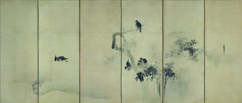 狩野探幽「叭々鳥・小禽図屏風(右隻)」江戸時代 出光美術館蔵