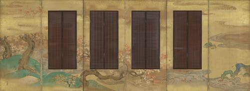 狩野常信「吉野・龍田図簾屏風(左隻)」江戸時代 出光美術館蔵