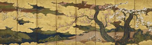 伝 狩野長信「桜・桃・海棠図屏風」江戸時代 出光美術館蔵