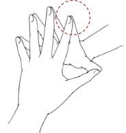 1. 上述の「基本の指だけヨガ」の形をとる