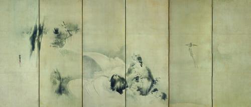 狩野探幽「叭々鳥・小禽図屏風(左隻)」江戸時代 出光美術館蔵