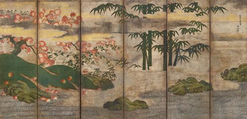 伝 土佐光信「四季花木図屏風(左隻)」重要文化財 室町時代 出光美術館蔵