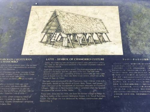 宣教師たちの記録をもとに描かれたグマ・ラッテの復元想像図。画像引用:ラッテストーン公園内の案内板画像を改変して作成