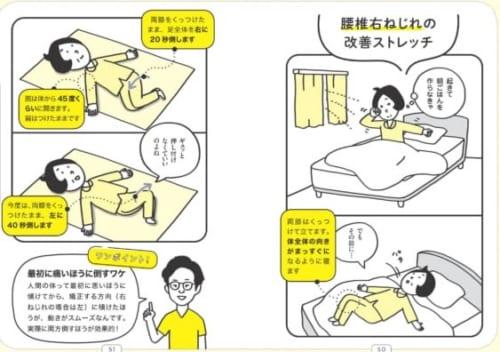 腰椎右ねじれの改善ストレッチ(本書50~51pより)