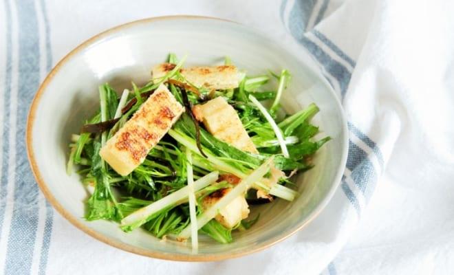 水菜と油揚げの塩昆布サラダ