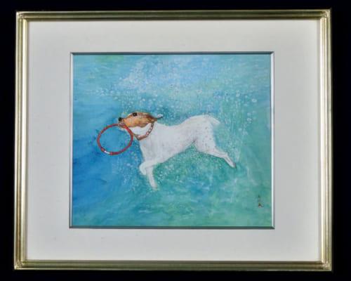 趣味は水彩画。小学生の頃から絵が得意で幾つもの賞を取り、教師から絵の道に進むように勧められたこともあるという。独学だが、無心になれるのがいい。写真は『水中の犬』と題した作品。