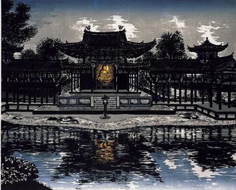 『鳳凰迎祥』。2003年に「宇治平等院鳳凰堂」をテーマに彫り上げて日展に入選した100号の大作。版木の数は8版。作品は2年後の3月、宇治平等院に奉納された。