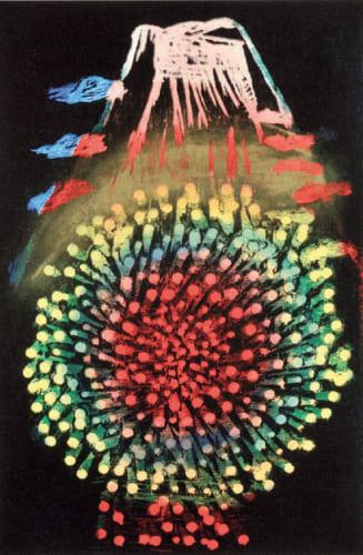 最新作『富士は花火より高し』(木版、水性+油性、91×60.5㎝)。富士山と花火をモチーフに、洗練された深みのある色彩を創つくり出している。昨秋の日本版画協会展出品作。