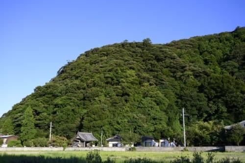 後瀬山城の山容。麓には守護所の跡がある。