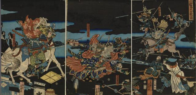 川中島の戦い(1561年)。左の馬上が上杉謙信。歌川芳艶『川中嶌大合戦の図』国立国会図書館蔵