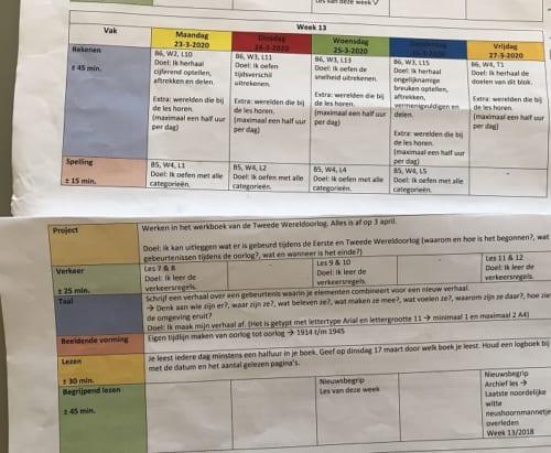 その日の課題が指定されたスケジュール表