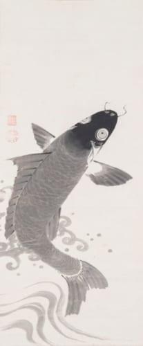 伊藤若冲「鯉魚図」 福田美術館蔵(左幅)