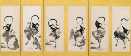 伊藤若冲「群鶏図押絵貼屏風」 福田美術館蔵(右隻)