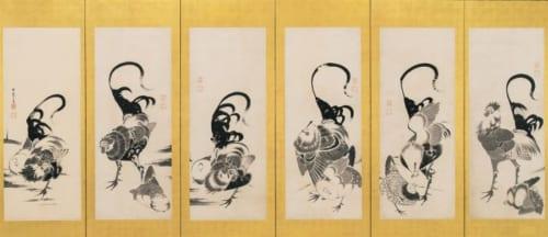 伊藤若冲「群鶏図押絵貼屏風」 福田美術館蔵(左隻)