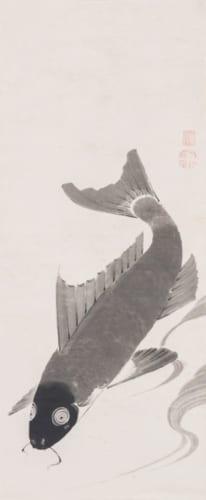 伊藤若冲「鯉魚図」 福田美術館蔵(右幅)
