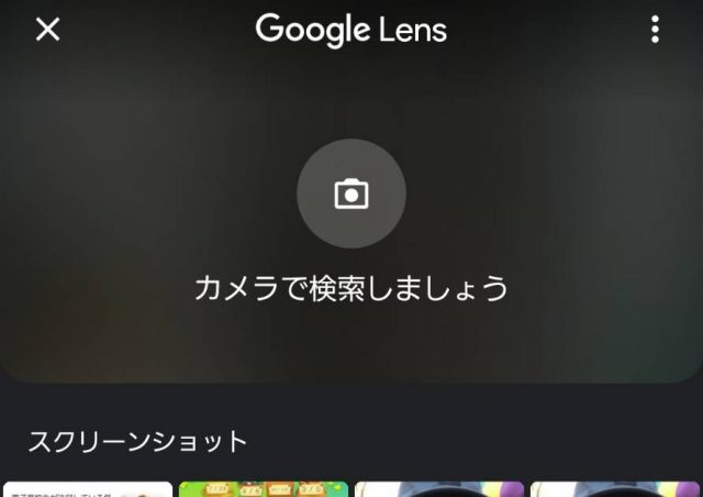 Googleアプリでカメラマークを押した際の画面